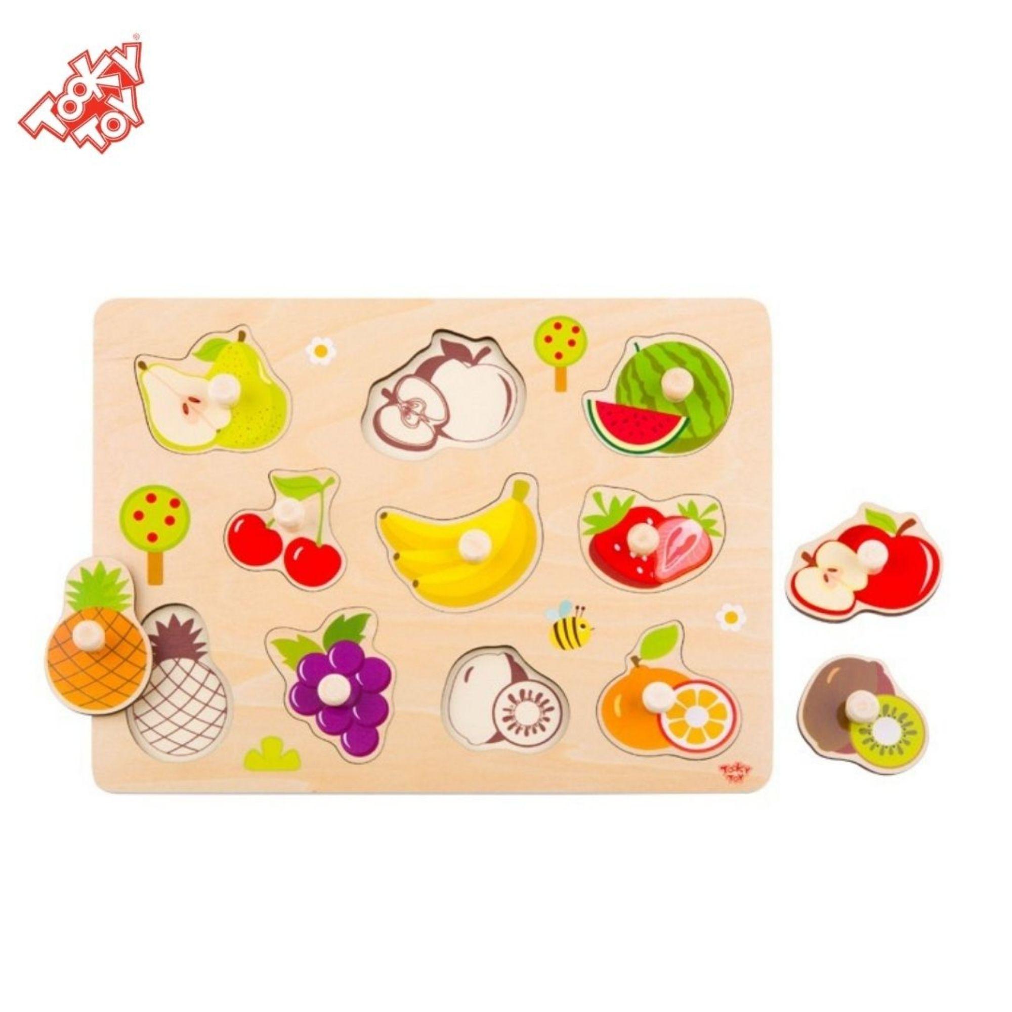 Jogo de Encaixe Frutas - Peças de Madeira com Pino - Tooky Toy