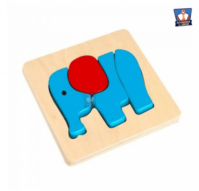 Mini Puzzle de Encaixe - Elephant - Tooky Toy