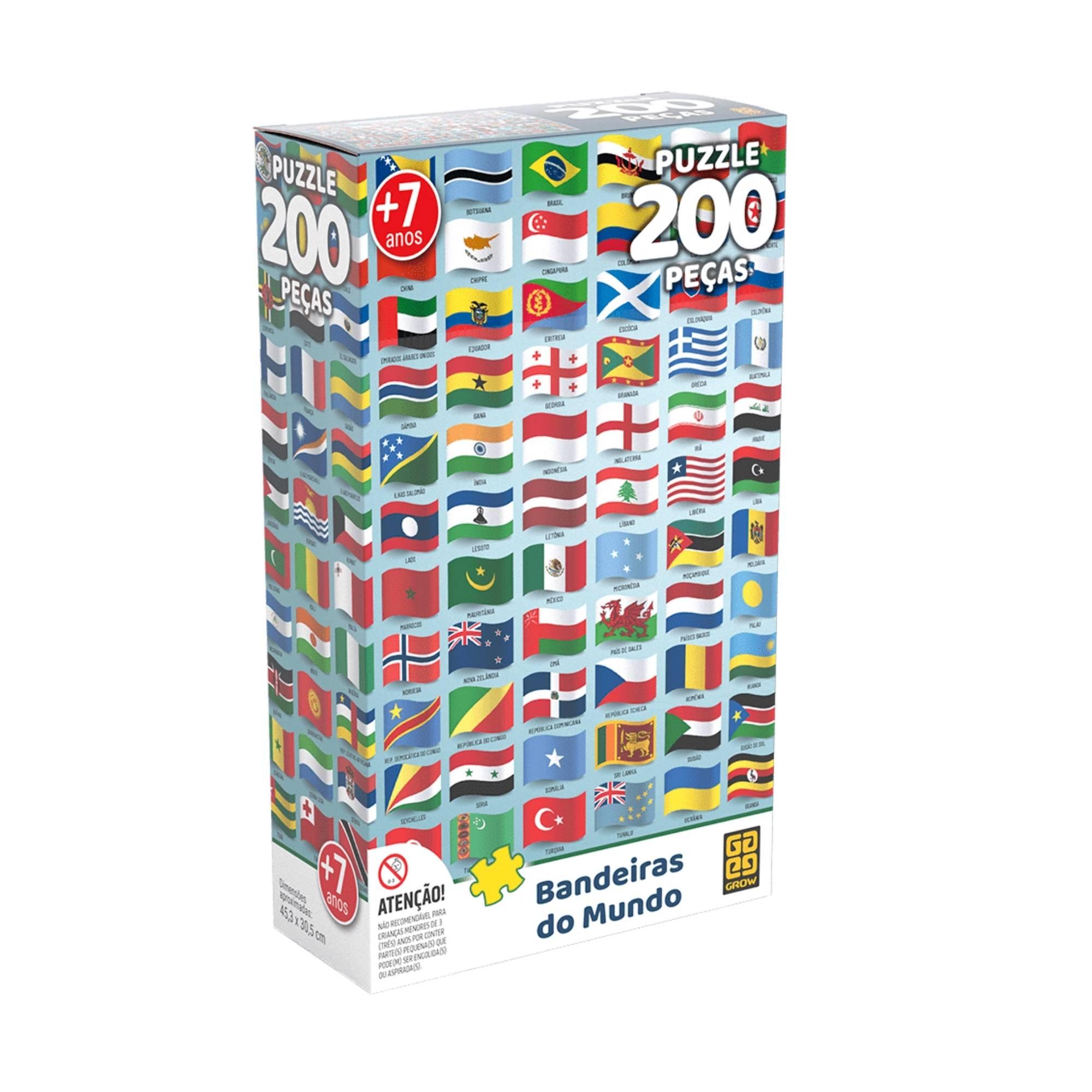 Quebra-cabeça Bandeiras do Mundo 200 peças - Grow