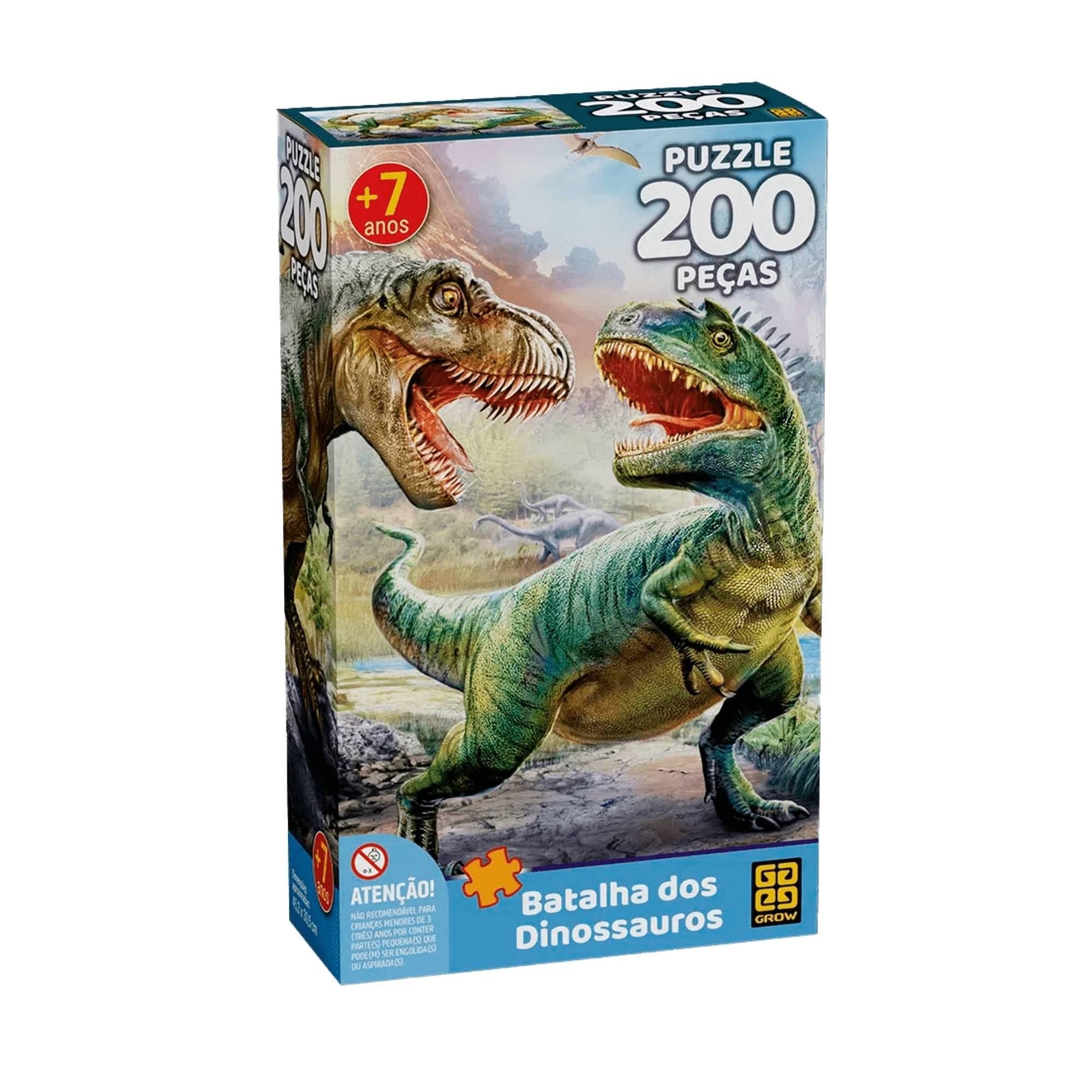 Quebra-Cabeça Batalha Dos Dinossauros 200 Peças - Grow