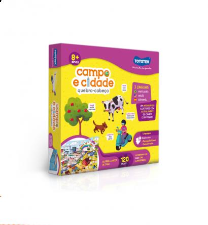 Quebra-Cabeça Campo e Cidade Trilingue 120 peças - Toyster