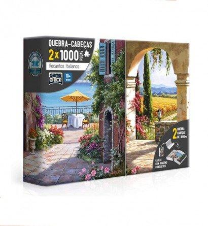 Quebra-Cabeça Duplo 2x 1000 peças Recantos Italianos Vinha Italiana Toscana - Game Office
