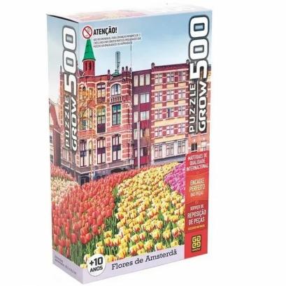 Quebra-cabeça - Flores em Amsterda - 500 peças - Grow