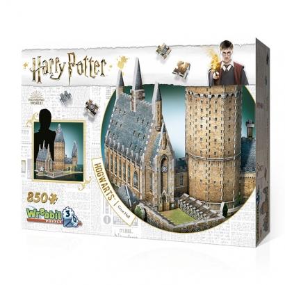 Quebra-cabeça Harry Potter Salão Principal Hogwarts - 850 peças 3D - Galápagos Jogos
