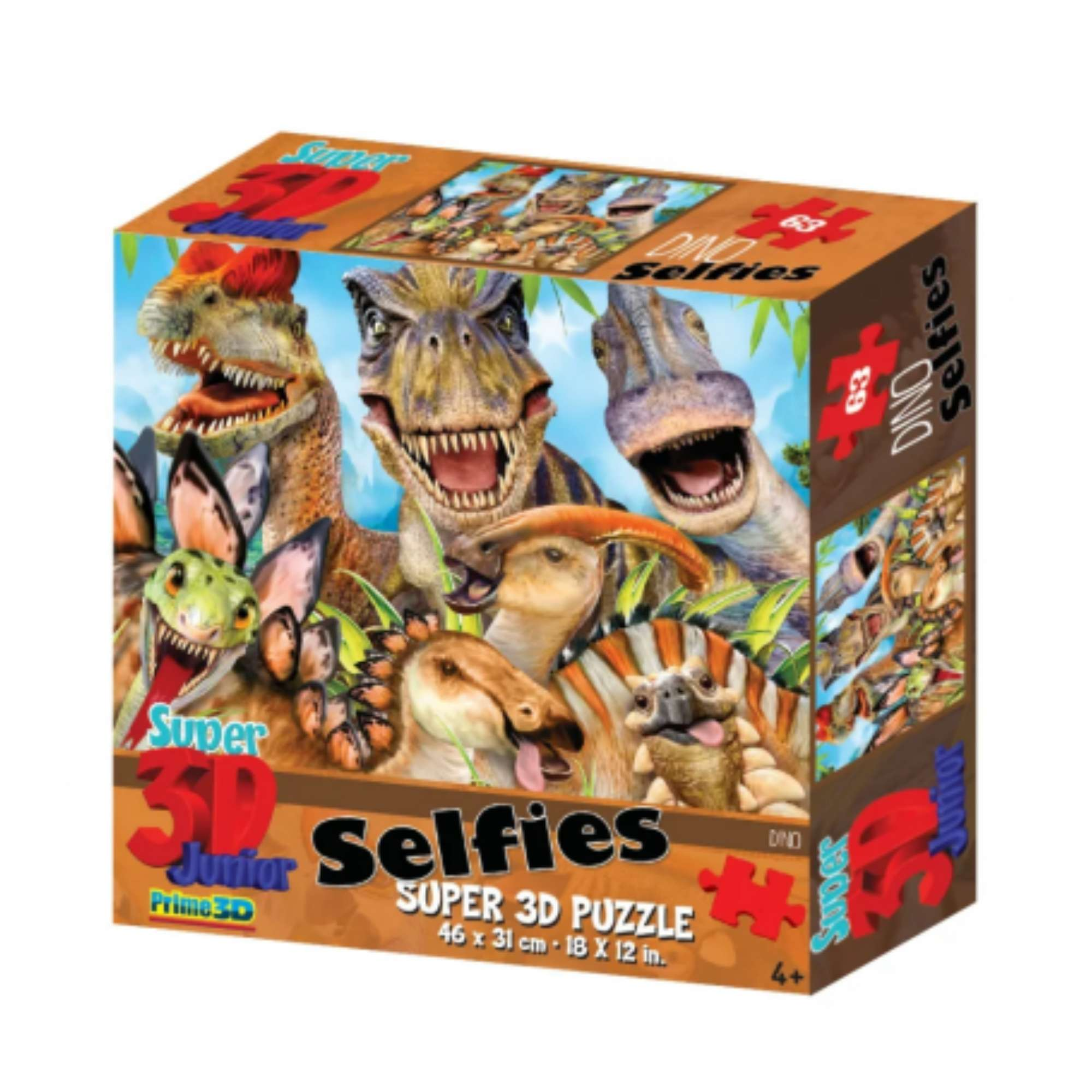 Quebra-cabeça Holográfico - Dinossauros - Dino Selfie - 100 peças - Multikids