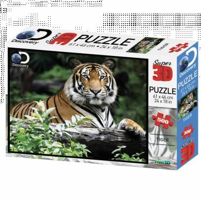 Quebra-cabeça Holográfico - Tigre - 500 peças - Multikids