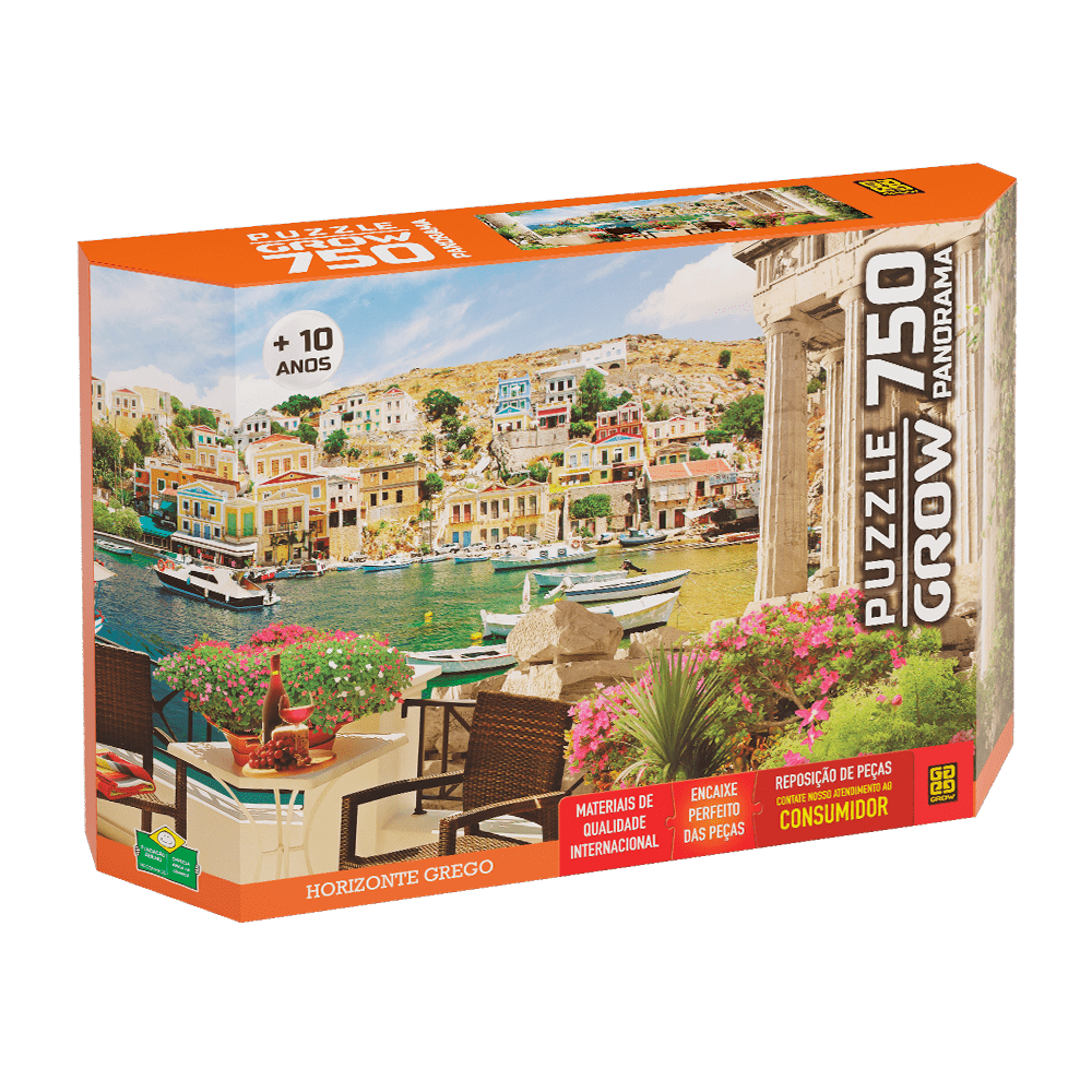 Quebra-cabeça Panoramico Horizonte Grego 750 peças - Grow