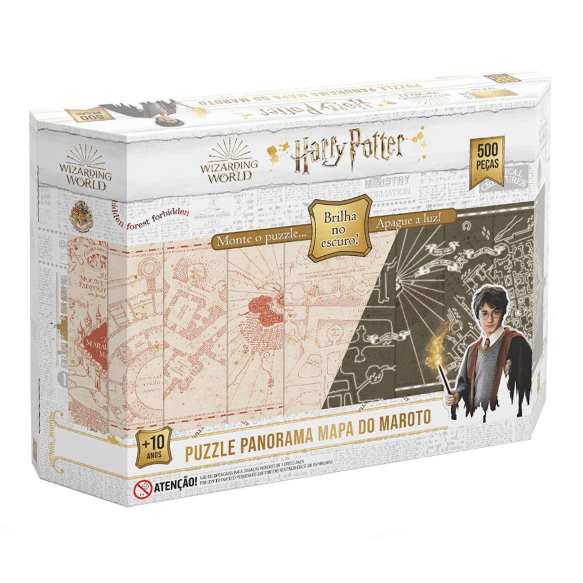 Quebra-Cabeça Panorâmico Mapa do Maroto Harry Potter Brilha no Escuro 500 Peças