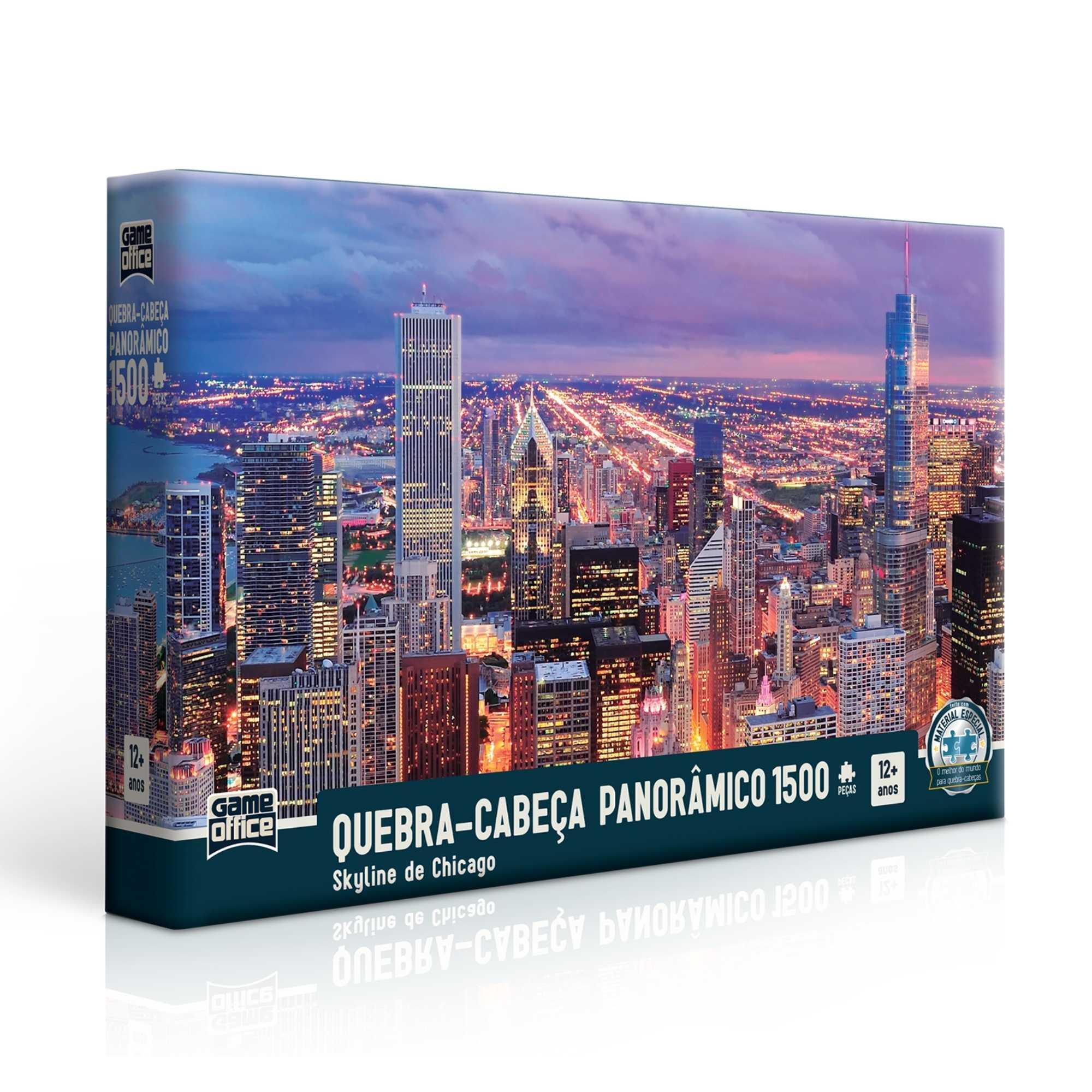 Quebra-cabeça Panorâmico Skyline de Chicago - 1500 peças - Game Office
