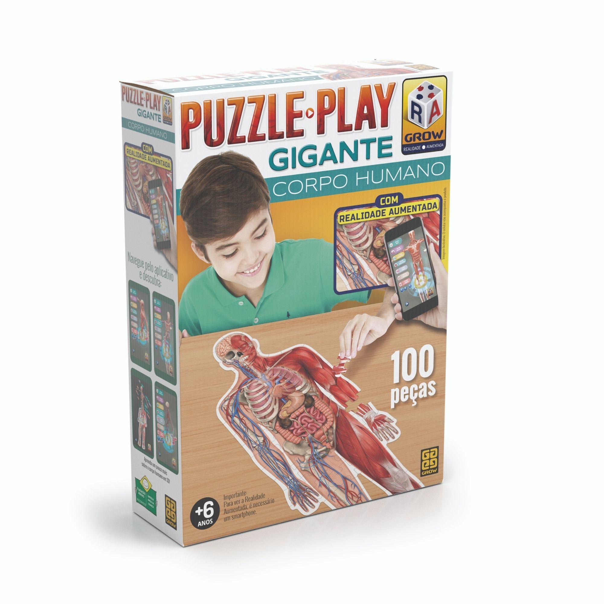 Quebra-Cabeça - Puzzle Play Gigante - Corpo Humano - 100 Peças - Grow