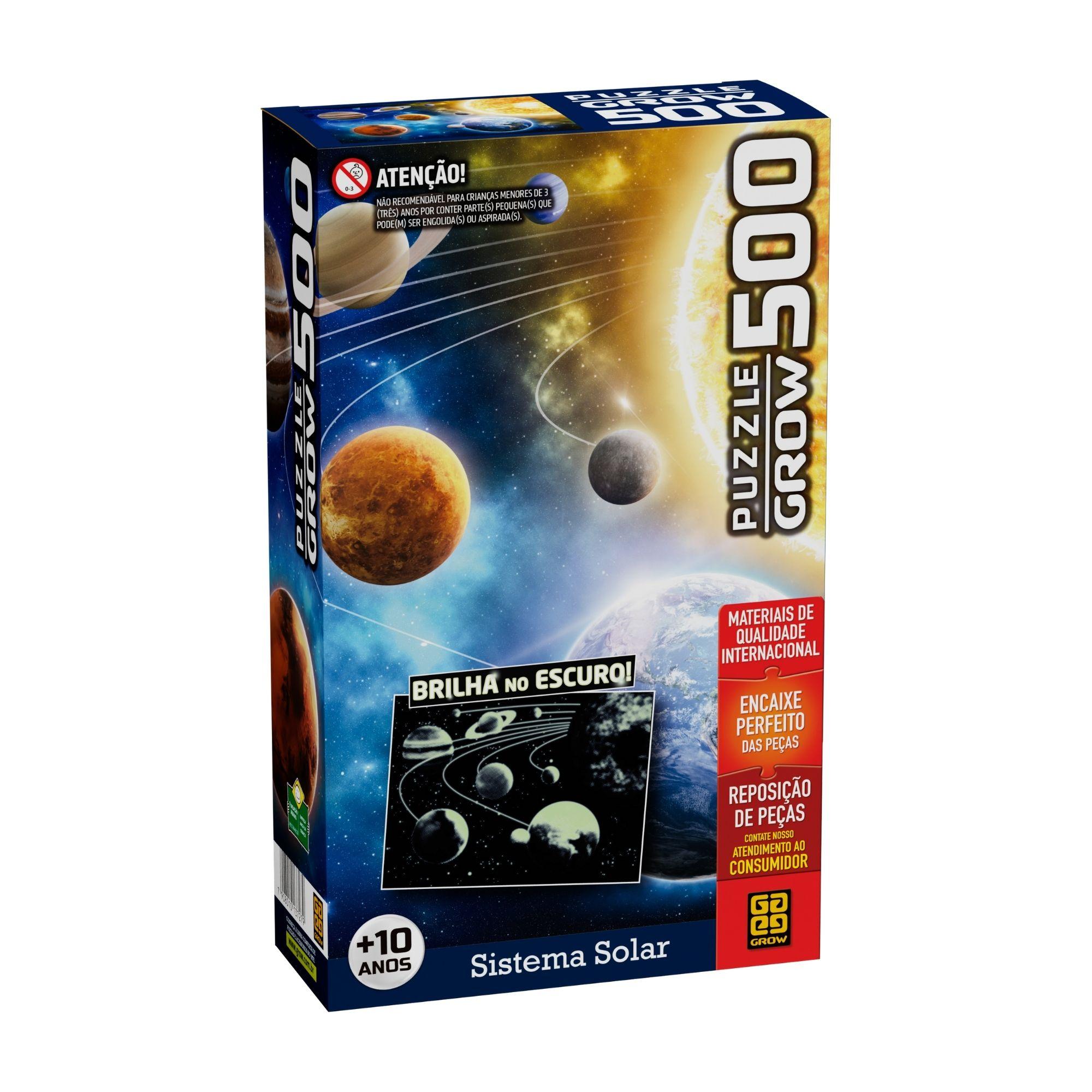Quebra-Cabeça - Sistema Solar - Brilha no Escuro - 500 Peças - Grow