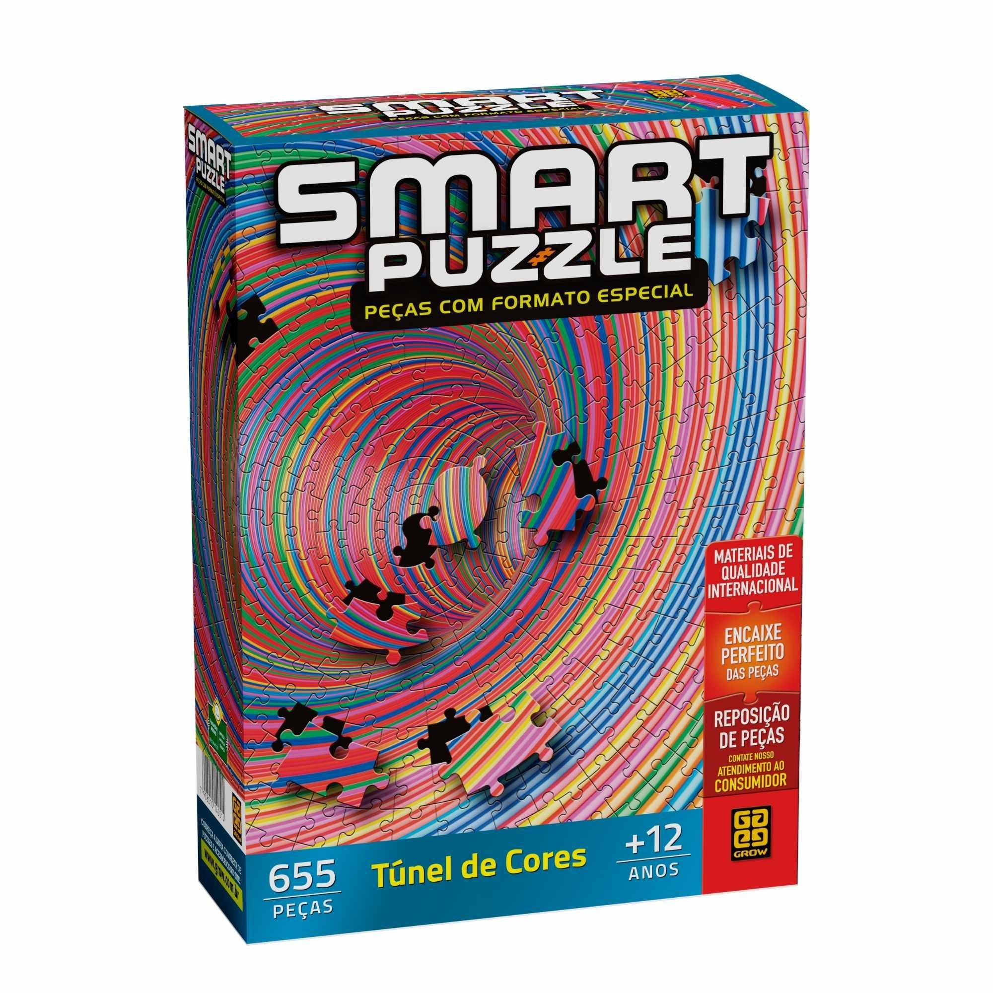 Quebra-Cabeça Túnel De Cores Smart Puzzle 655 Peças - Grow