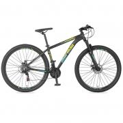 Bicicleta Mormaii Venice 3.0 Aro 29 21V Disk Brake Grafite/Amarelo-Acqua Blue