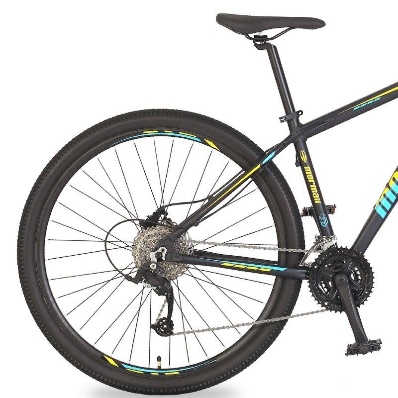 Bicicleta Mormaii Venice 4.0 Aro 29 27V Disk Brake Grafite/Amarelo-Acqua Blue
