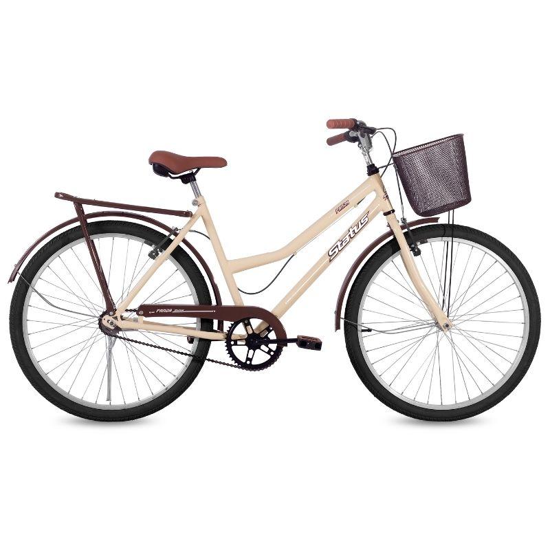 Bicicleta Status Aro 26 Panda c/ Cesta 1V V-Brake Bege