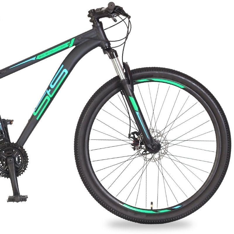 Bicicleta Status Big Evolution 3.0 Aro 29 21V Disk Brake Grafite/Verde-Acqua Blue