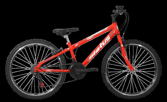Bicicleta Status Big Evolution Freeride Aro 26 21V V-Brake Laranja Neon