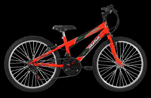Bicicleta Status Lenda Aro 24 18V V-Brake Laranja Neon