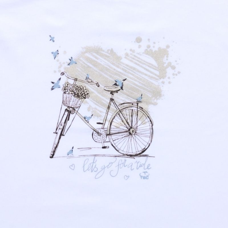 Camiseta Feminina Love Bike Branca Bicicleta Ciclismo
