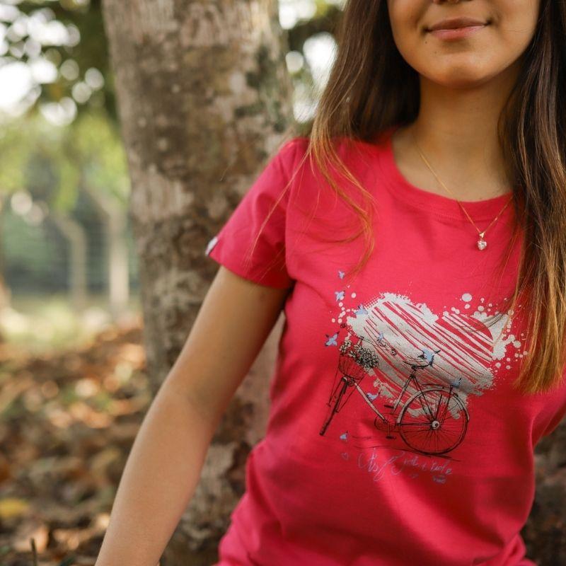 Camiseta Feminina Love Bike Pink Bicicleta Ciclismo