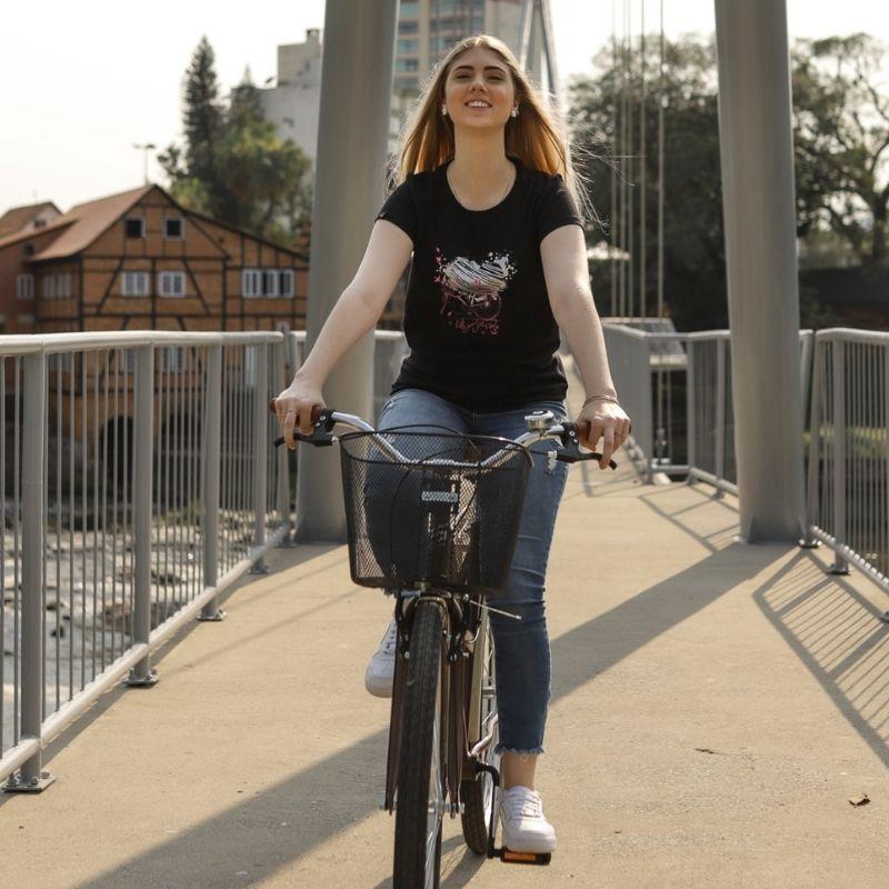 Camiseta Feminina Love Bike Preto Bicicleta Ciclismo