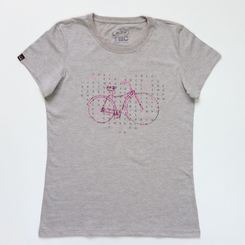 Camiseta Feminina Retrô Bike Cinza Mescla Bicicleta Ciclismo