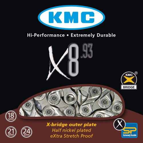 Corrente KMC 8 Velocidades X8.93 116 Links Cinza - KMC