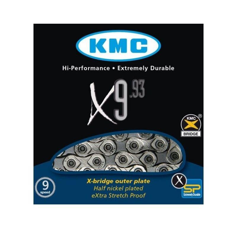 Corrente KMC 9 Velocidades X9.93 116 Links Cinza - KMC