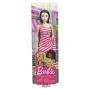 Boneca Barbie Fashion And Beauty -  Vestido Listrado Rosa - Mattel