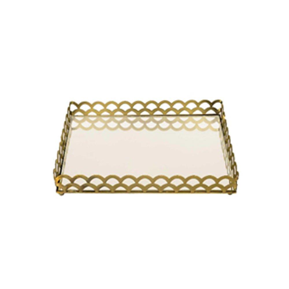 Bandeja Luxo Belga Quadrada Ouro