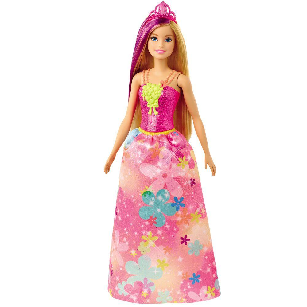Boneca Barbie Dreamtopia Princesa Loira Vestido Flores - Mattel