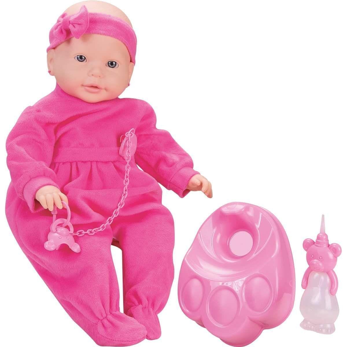 Boneca Bebê Mania Xixi - Macaquinho Rosa - Roma Jensen