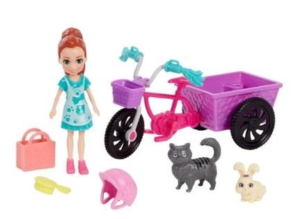 Boneca Polly Pocket aventura de bicicleta com pet - Mattel