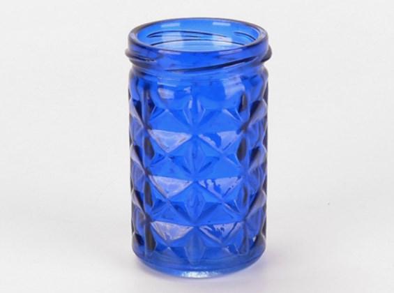 Copo Porta Vela de Vidro Azul Escuro - Botanica