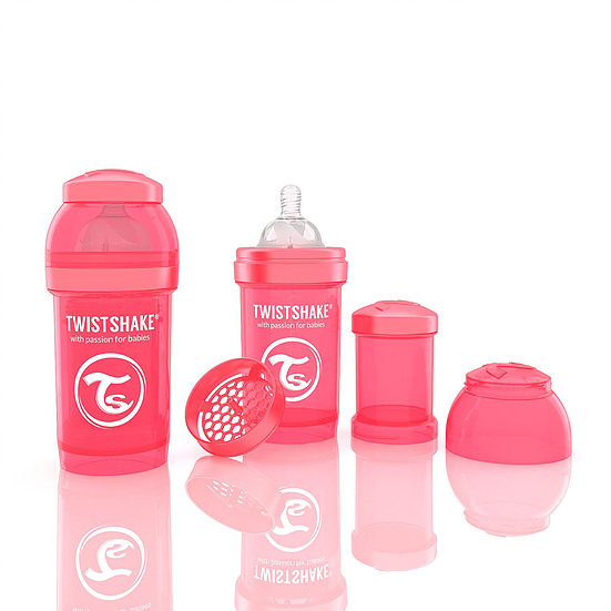 Mamadeira Twistshake Anti-Cólica cor Pessêgo - 180ml - Prime Baby