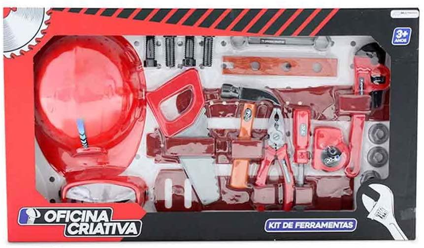 Oficina Criativa Kit Ferramenta com Capacete e Acessórios Vermelho/Preto Multikids - BR796