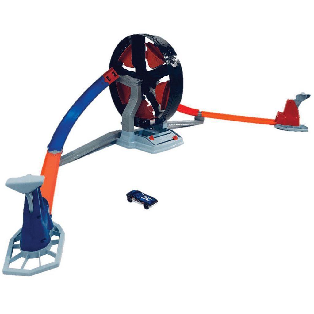 Pista com Lançador Hot Wheels Competição Giratória - Mattel.
