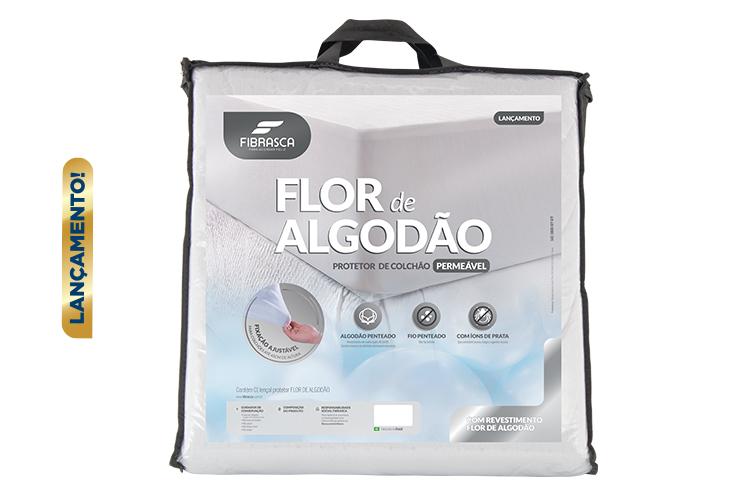 Protetor de Colchão Solteiro Impermeavel Flor de Algodão 90x190cm - Fibrasca