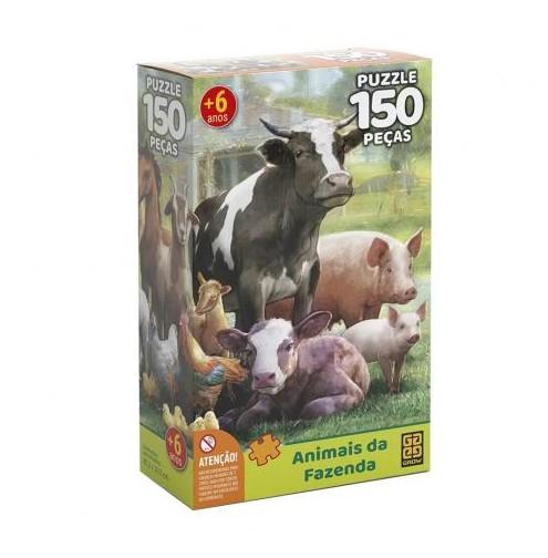 Quebra cabeça animais da fazenda 150 pç - Grow