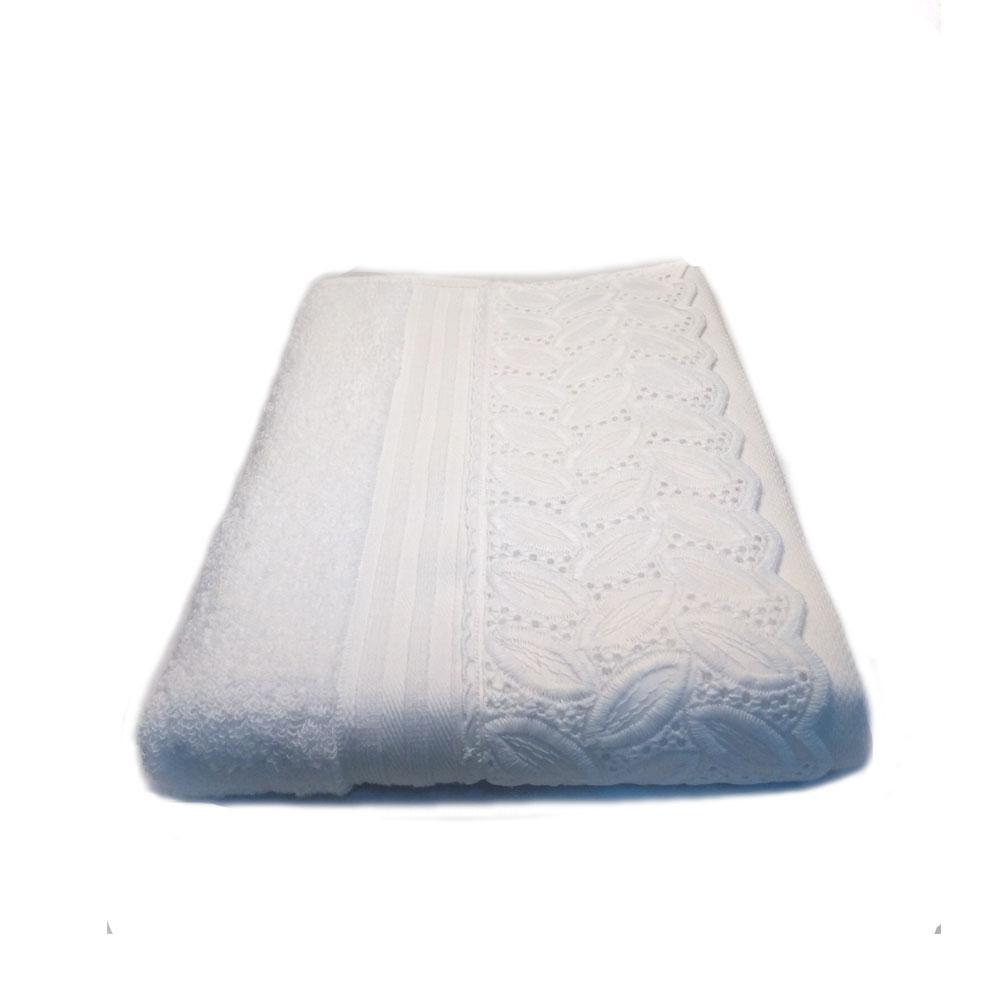 Toalha Banhão 81x150cm Cristal com Renda Venice Branco - Bouton