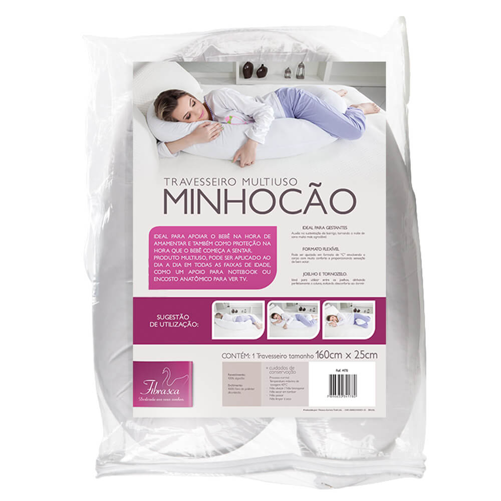 Travesseiro de Corpo Multiuso Minhocão 1,60x0,25m Em Malha 100% Algodão