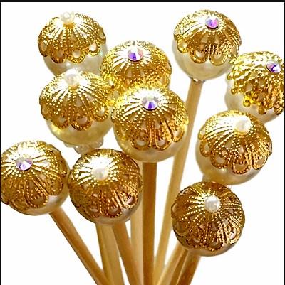 Vareta Decorada para Difusor de Ambiente 25cm Dourada