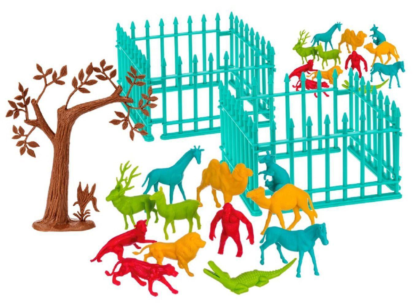 Zoologico Árvore e Cercas Balde Playset 30 Figuras - Gulliver