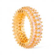 Anel Luxo Inteiro Cravejado com Zircônias Banhado a Ouro 18K