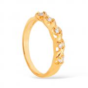 Anel Meia Aliança com 5 Pedras de Zircônia Banhado a Ouro 18K