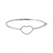 Bracelete Prata de Coração com Banho Branco