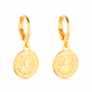 Brinco de Argolinha Dourado Com Medalha Religiosa Banhado a Ouro 18K