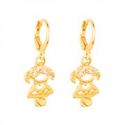 Brinco de Argolinha Dourado Filha Menina Pedras Zircônia Banhado a Ouro 18K