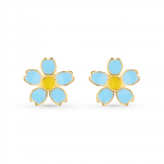Brinco De Flor Azul e Amarelo Banhado a Ouro 18K