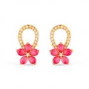 Brinco de Flor com Zircônia Cristal e Pink Banhado a Ouro 18K
